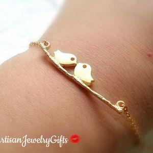 Gold Kissing Love Birds Bracelet